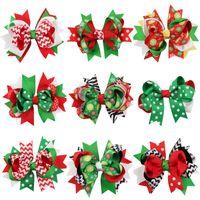 아기 소녀 크리스마스 머리 핀 Dovetail barrettes 클립 아이들 눈송이 도트 스트라이프 머리 액세서리 bowknot 헤어 클립 KFJ06