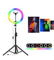 8INCH 10INCH RGB LED صورة شخصية حلقة التعبئة الخفيفة مع ترايبود حامل التصوير عكس الضوء حلقة مصباح لTikTok يوتيوب ماكياج أضواء فيديو