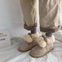 Stivali Snow Women 2021 Autunno e Inverno Scarpe da pane di moda spessa di moda Mid-Tube Plus Velvet Comodo in cotone a nastro