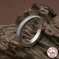 100% S925 sterling silver ring personality fashion classic jewelry punk style carved letters simple style to send a gift