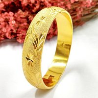12mm espessura Bangle Abertable Gold Amarelo Cheio Linda Mulher Esculpida Pulseira Diâmetro 64mm (2,5 polegadas) 1