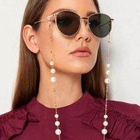 Nueva llegada de uso múltiple de las lentes cadenas con cierre de langosta metal y perlas artificiales Hermosa Cadena Gafas de sol