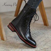 Krazing Pot 2020 pattini donne di inverno cuoio naturale cross-legato spessa punta tonda tacco basso cerniera mantenere accoglienti sistema caldi della caviglia L06