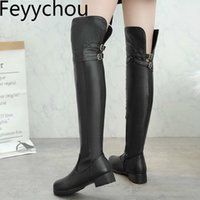 Carregadores das mulheres Outono Inverno Med Heel Zip Pu Over-the Knee Rodada Toe Motos Botas 2020 New Sexy Black Fashion Big Size 34-48