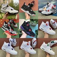 2020 Nuevos 4 4s zapatos de baloncesto de Jumpman metálica púrpura verde rojo criados OVO salpicadura de gato negro lo que el 11 12 13 hombres para hombre zapatillas de deporte