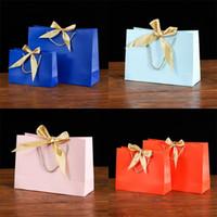 Sac d'emballage à fond d'arc carré Pure Color Silk Braid Paper Sacs à main Cadeaux Forfait Forfait fête de cérémonie Shopping Exquis Coloré 2 3kz N2