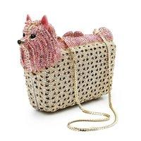 Bolsas de noite Xiyuan Marca Cão Forma Rosa / Branco Embreagem de Cristal Moda Gold Metal Party Bolsa De Luxo Bolsas Femininas