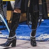 Сапоги Патентная кожа жемчужная металлическая цепь женских колена высокий квадратный каблук шарик декор леди роскошь обувь Zapatos de Mujer Long Boot1