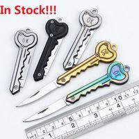 Hot Key Shape Mini Pieghevole Coltello Pieghevole Sabre Pocket Fruit Coltello multifunzionale Cinturino a catena chiave Coltello Swiss Autodifesa Coltelli EDC Tool Gear