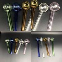 Dauerhafter Kräuteröl-Brenner-Rohr Multi-Farben Transparent Rohr-Hukahn Shisha-Wasserbongs Pyrex-Glas-Raucherpfeifen auf Lager 1 8ps E19