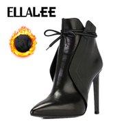 ELLALEE Yeni Seksi Martin Boots Avrupa ve Amerikan Sıcak Stiletto Platformu Çıplak Kadınlar Yüksek topuk Kış Boots 201020 Sivri