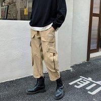 Мужские брюки Мужчины Cargo 2021 Весенний Корейский Стиль Жулки Хип-Хоп Повседневная Гарема Улица Урожай Мужской Брюки