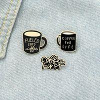 Black Romantic Coffee Cup Enamel Pins Black Yellow Fashion Coffee fist For Friend Gift