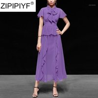 Zipipiyf شحن مجاني 2020 صيف جديد أنيق ربط بلون اللباس مرتفعة الخصر أنيقة النساء الشيفون اللباس C2391