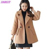 Женская шерстяная смесь 2021 осень зима женщин шерстяные ткань короткие пальто бутик мода чистый цвет шерстяной верхней одежды плюс размер ioqrcjv h185