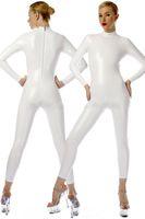 Corps en PVC blanc Sexy Costume Cosplay Costumes Nouveau 9 Couleur Brillant PVC Costume Costumes Catsuit unisexe Retour Zipper No Head / Main / Pied DH212