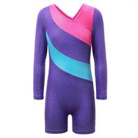 Baohulu Teens Балет с длинным рукавом Спандекс фиолетовый полосатый балет гимнастика леотарки девочек платье одежда детская танцевальная одежда1