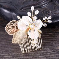 Leiin Golden Leaf Crown Rhinestones Pearls Noiva Wedding Hair Peine Peineo de novia CRISTAL TIARA Cabello Joyería Accesorios1