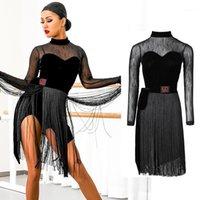 Латинское танцевальное платье две части платье соревнований бахрома юбка женская вечеринка для взрослых практика танцевальная одежда Rumba Latin BI2121