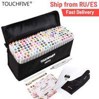 Marqueurs de touchfive 40/60/80/168 Couleur Dual Tips Sketchmarker pour dessin Manga Art Markers ALCOOL INK Art Fournitures avec 6 cadeaux 210226