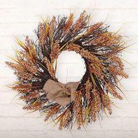 Grinalda de trigo artificial grinalda simulação festão de seda flor falsa natal de thanff thanksgiving parede pendurado decoração1