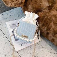 2020 neue Kinder gedruckt Candy Bag Mode Mädchen Dame Perle Handtasche Messenger Bag Kinder Perle Kette Eine Umhängetasche Geldbörse C6729