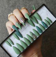 Olive Green Salon Stiletto Falsos Unhas DIY Cristal Glitter Nails Full Set Press Na Caixa Personalizada 24 Pcs