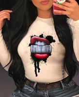 Dudak Baskı İlkbahar Yaz Tees Moda Rahat Kadın Giysileri Bayan Tasarımcı Tshirt Uzun Kollu Dolar Tops