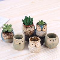 Maceta en forma de búho de dibujos animados para suculentas plantas carnosas maceta cerámica pequeña mini hogar / jardín GWB7720