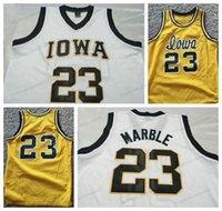 Ucuz Özel # 23 Roy Mermer Iowa Koleji Basketbol Jersey Erkekler Hepsi Dikişli Beyaz Siyah Herhangi Boyutu 2xs-5XL Adı veya Number Ücretsiz Kargo