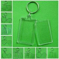Bricolage bricolage chaîne de porte-clés rectangle blanche acrylique insérer photo image cadre porte-clés transparents