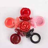 500Pcs Fashion Mini Flower Shape Eyeshadow Powder Case Elegant DIY Blush Compact Plastic Empty Rose Lipstick Container Box