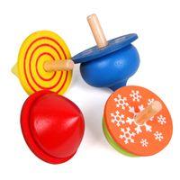 4 قطع مجموعة واحدة الصينية الكلاسيكية خشبية الدوران لعبة الكرتون الغزل أعلى لعبة تعلم ألعاب تعليمية للأطفال رياض الأطفال اللعب