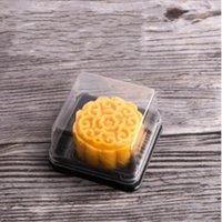 Boîtes à gâteaux de lune 50g de lune Boîtes d'emballage à gâteaux de lune Gold Noir Fond en plastique Couvercle transparent 176 g2