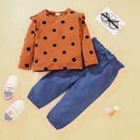 Kids Clithing Sets dot top + лук джинсовые брюки наряды весна 2021 детская одежда для одежды 1-5T маленькие девочки с длинными рукавами 2 шт.