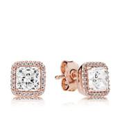 Design lussuoso 18 carati in oro rosa Signature Diamond Diamond Orecchini Box originale per Pandora 925 Sterling Sterling Donne Set di orecchini