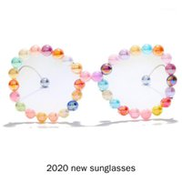 선글라스 2021 패션 대형 여성 빈티지 펑크 클리어 남자 진주 태양 안경 UV400 NX1