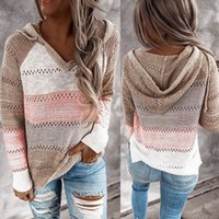 O- Neck long sleeve knit hoodie women sweater stripe knitted ...