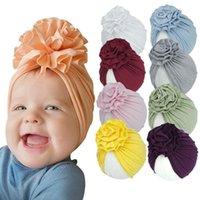 여자 꽃 유아용 터번 모자에 대 한 25 색 아기 모자 아기 비니 유아 사진 소프트 부드러운 면화 소녀 모자 1-3 년