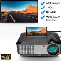 Flzen LED Projektor 1080P 5000 Lumen Filmprojektor Heimkino Projektor für Schlafzimmer Party für TV-Stick HDMI VGA USB Laptop iPhone Andr