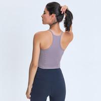 L-98 المرأة تانك قمم لليوجا التدريبات اللياقة البدنية قمصان مثير سترة سريعة الجافة تنفس رياضة قمم ناعمة يتأهل تي شيرت منصات الصدر الرياضية