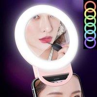 Ayna Fotoğrafçılık Flaş Işığı Yukarı Selfie'nin Cep Telefonu Kelepçe RGB Halka Lambası USB Şarj edilebilir Cep Telefonu Kamera RGB Selfie'nin Halka Işık