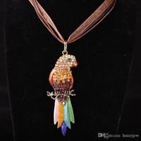 grand perroquet Collier pour femmes Collier Cristal gothique Antique long animal Pendentif Pull Collier