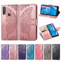 Para Alcatel 1S 2020 Teléfono carcasa cuero de la PU de embellecer la flor de mariposa con hebilla magnética Monedero correa de mano Ranura para tarjeta de dinero (Modelo: 1S2020)