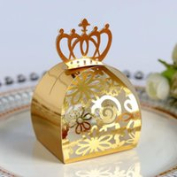 20/50 / 100pcs or de soirée de mariage boîte de faveur Sacs cadeaux Cut Rose Laser creux Bonbons Dragée Baptême de chocolat Emballage papier Boîte