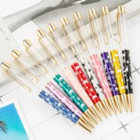 20 اللون الكرتون DIY أنبوب الخالي المعادن أقلام حبر جاف الطلاب الكتابة هدية الذاتي ملء العائم بريق الكريستال القلم تصميم جديد EEC2463