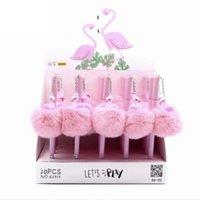 Jel Kalemler Flamingo Kalem Pembe Peluş Ponpon Kalite Kırtasiye Kawaii Okul Malzemeleri 0.5mm Mürekkep Ofis Araçları