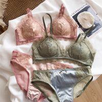 Womens Lace Set Satin Silk Sleepwear Bra+ Shorts Pjs Nightwear Pajamas Set Underwear girls Sets lash bras with pad 2020 Lingerie Y200708