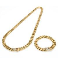 10mm hommes en acier inoxydable bracelet de chaîne cubaine Ensemble glacial strass HIP HOP HOP Collier Jeu de bijoux