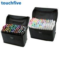 Touchfive Marker Colors Выбирайте щетку ручку алкогольные жирные чернильные чернильные маркеры для манги двойных головок на эскизные маркеры 210226